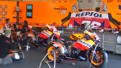 Pit garage graphics for Repsol Honda MotoGP team